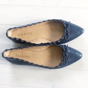 New Talbots Navy Leather Pointy Toe Ballet Flats